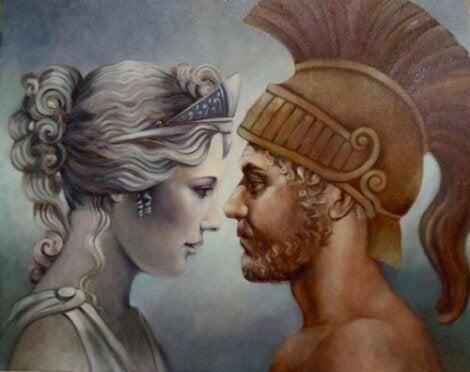 Myten om Afrodite og Ares representert på et bilde.