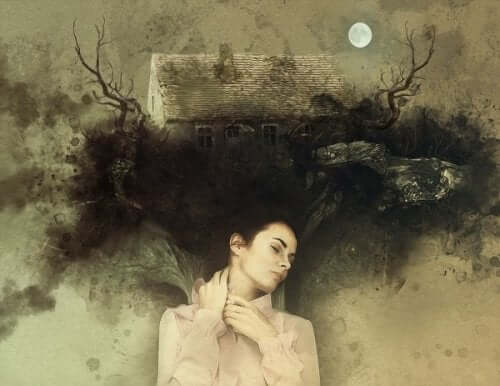 Kvinne som drømmer.