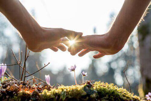 To hender over blomster som vokser på mose