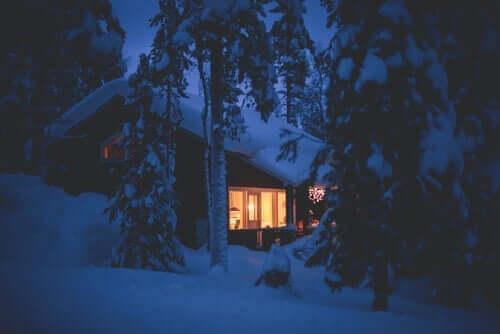 En snøkledt hytte i en skog