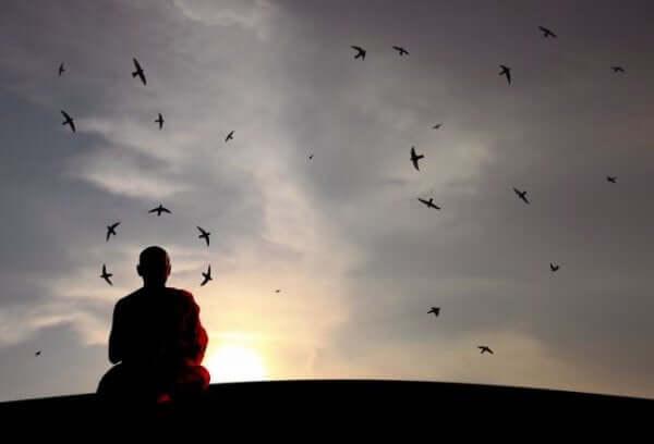 munk mediterer forran en kveldshimmel full av fugler