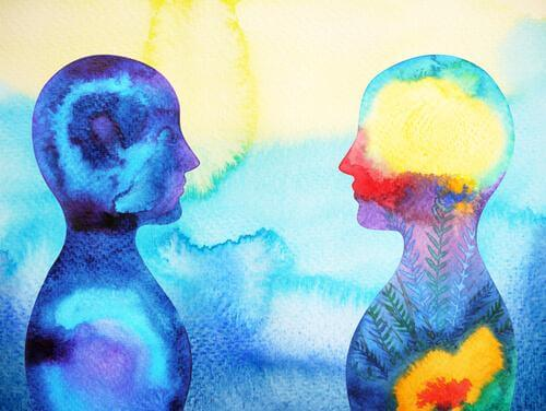 En illustrasjon av omrisset til to personer som står ansikt til ansikt.