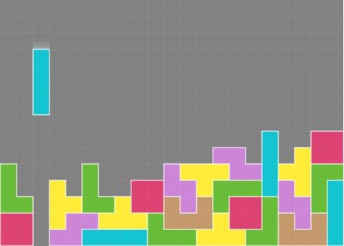 Et bilde som viser et Tetris-spill som pågår, med mange fargerike blokker som allerede er på plass.