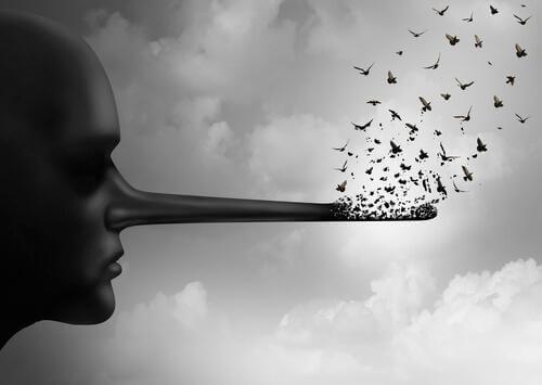 Lang nese som representerer løgner, en av tre typer falskhet. simulering