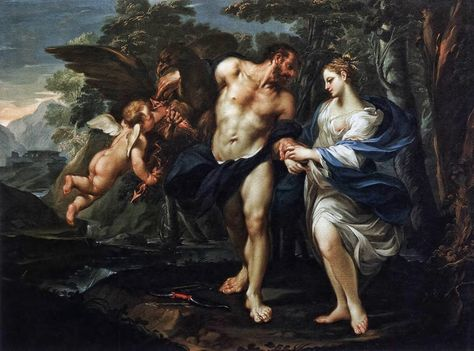 Maleri av Zevs og Demeter, gudinnen over jordbruket.