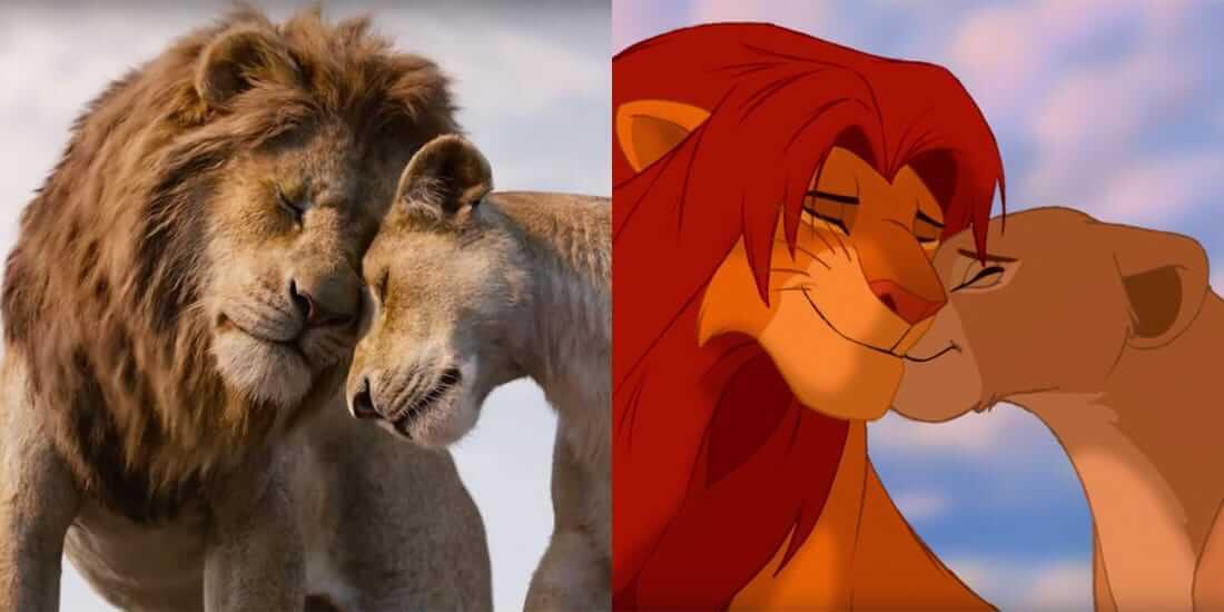 Bilder fra de to ulike versjonen av Løvenes Konge ved siden av hverandre