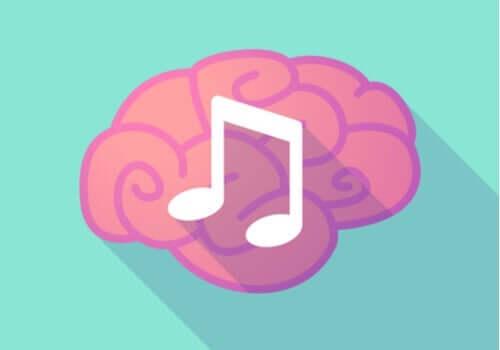 En illustrasjon av en menneskehjerne med en musikknote