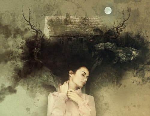 Tegning av sovende kvinne som har skrememde drømmer