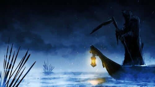 Oljebilde av en Kharons båt på nattestid.
