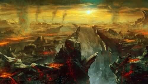 En oljemaling av et landskap fyllt av ild og røyk.