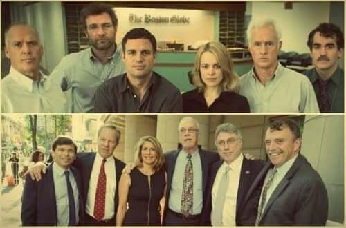 Spotlight - skuespillerne øverst og de virkelige menneskene nederst