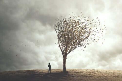En person som står ved et tre som mister blader