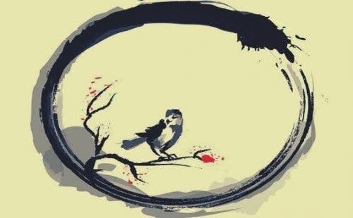 En fugl i ensō-sirkelen.