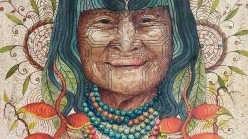 En tegning av en urkvinne.