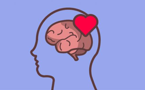 Tegning av hode der hjerte og hjerne står ved siden av hverandre