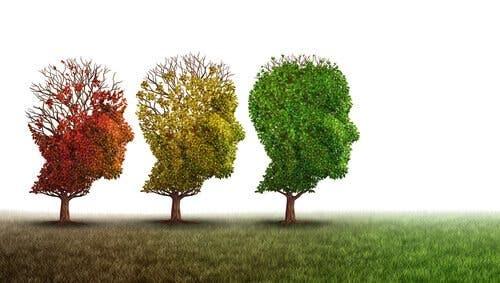 Hodeformede trær som representerer kognitiv svikt.