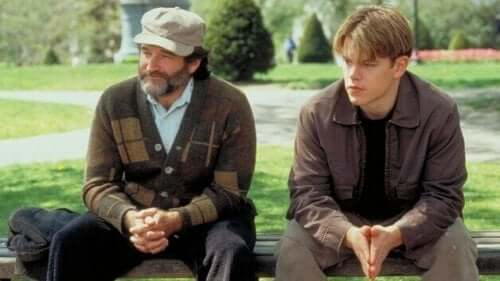 En scene med Robin Williams og Matt Damon.