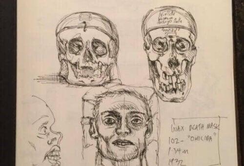 Tegning av hodeskaller.
