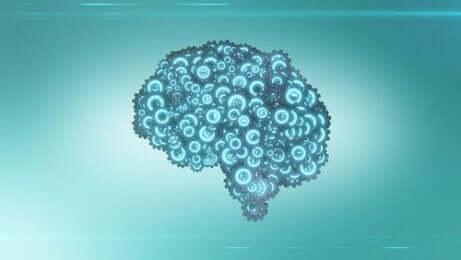 En hjerne sammensatt av tannhjul som representerer læretid gjennom en læremaskin.