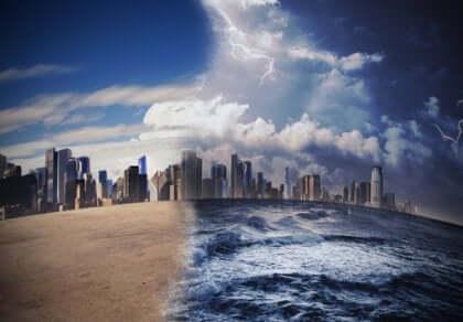 Et illustrert bilde av en storm og solskinn i en by.