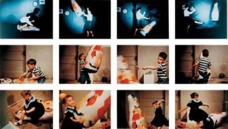 Stillbilder fra Bobo dukkeeksperimentet.