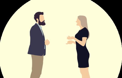 To mennesker snakker.