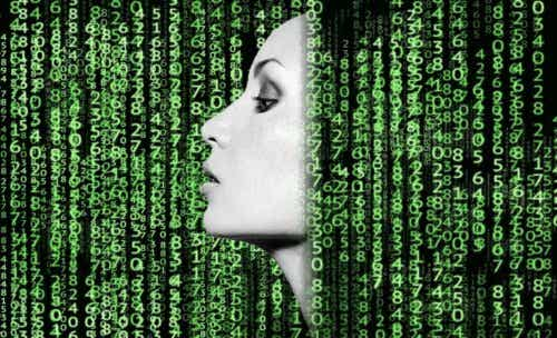 Kvinne omgitt av grønne tall.